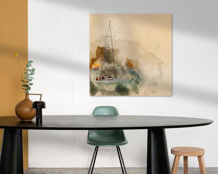 Impression: Bateau à voile au large de la côte de Flessingue sur Art by Jeronimo
