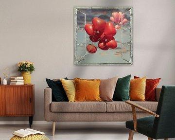 Fensterblick - Ballonherzen von Christine Nöhmeier