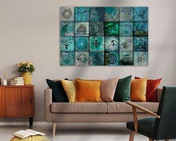 Collage Türkis, digitale Kunst von Rietje Bulthuis