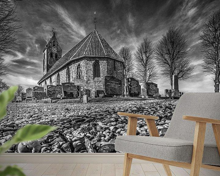 Sfeerimpressie behang: Het kerkje van Jelsum van Harrie Muis
