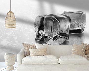 Bevroren ijsblokjes Zwart Wit van Jan Brons