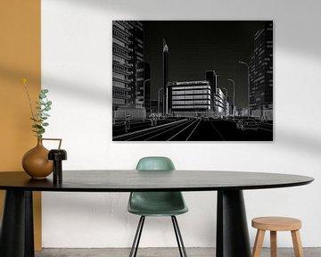 Dudok's Bijenkorf wit op zwart, Rotterdam