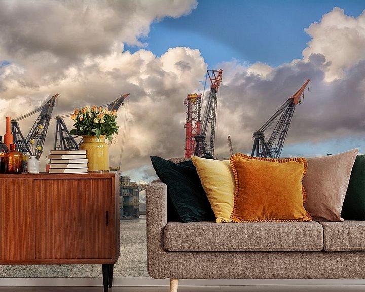 Sfeerimpressie behang: Heerema gezusters in Rotterdamse haven van Dick Kattestaart