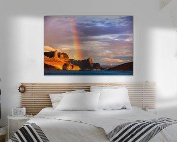 Regenboog over Padre Bay, Lake Powell, Utah van Henk Meijer Photography