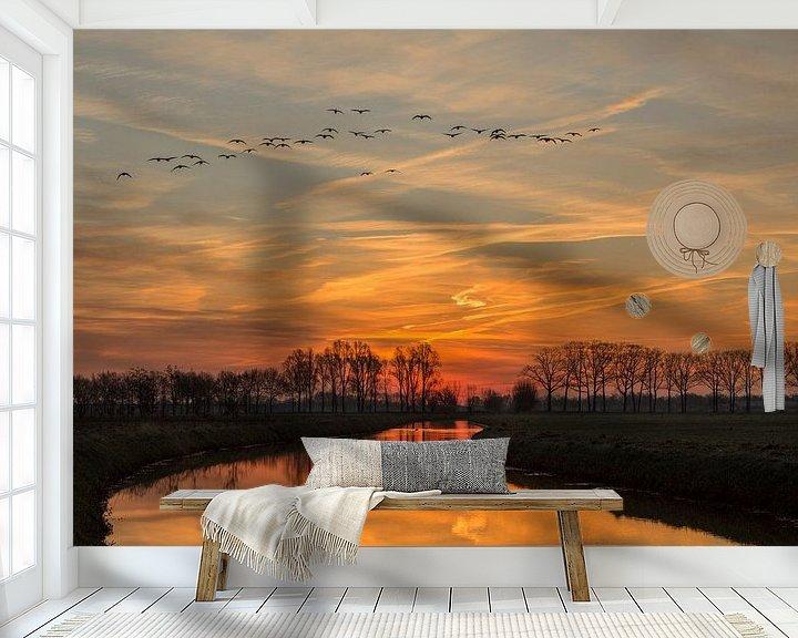 Sfeerimpressie behang: Rivier de Leygraaf zonsopkomst (Sunrise) van Jos Dortmans
