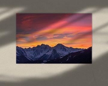 Zonsondergang in de franse alpen van Richard Steenvoorden