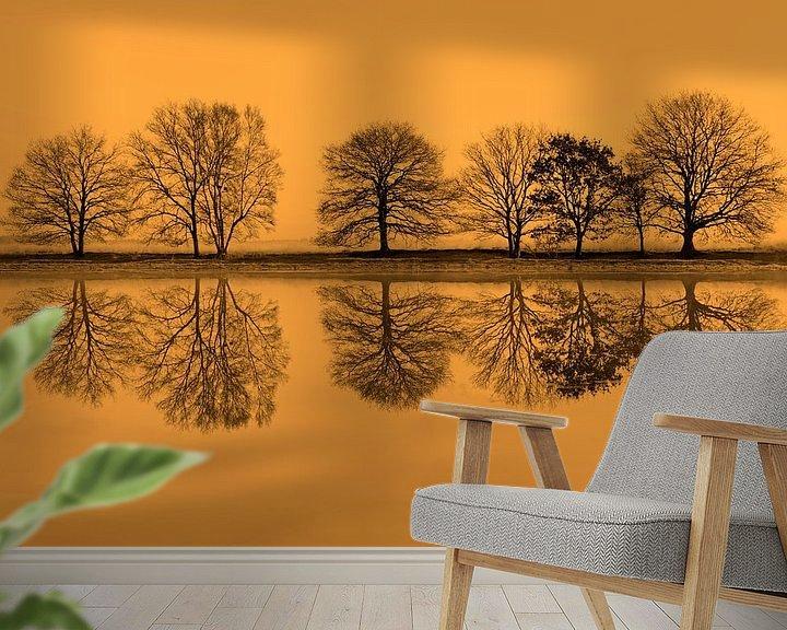 Sfeerimpressie behang: rij bomen spiegelt in het water van Ronald Jansen