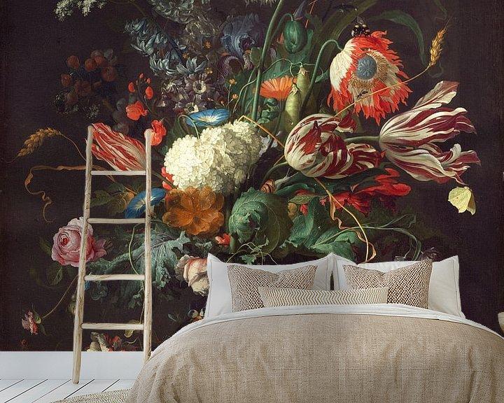 Sfeerimpressie behang: Jan Davidsz de Heem. Vaas met bloemen