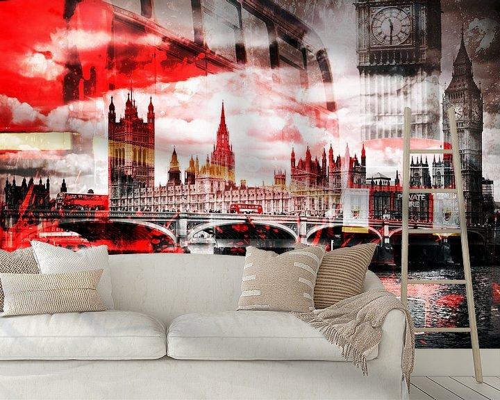 Sfeerimpressie behang: City-Art LONDON Red Bus Composing van Melanie Viola