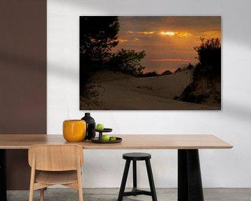 Zonsondergang in Kale Duinen (Aekingerzand) in Drents-Friese Wold van Meindert van Dijk