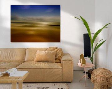landschap abstract geel blauw von Groothuizen Foto Art
