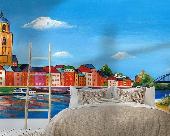 Sfeerimpressie behang: Schilderij Deventer skyline van Kunst Company