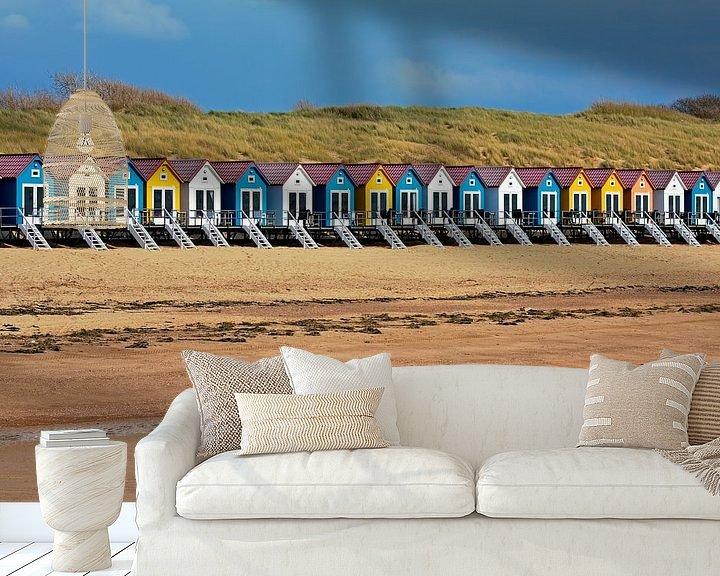 Sfeerimpressie behang: Strandhuisjes Vlissingen van Anton de Zeeuw