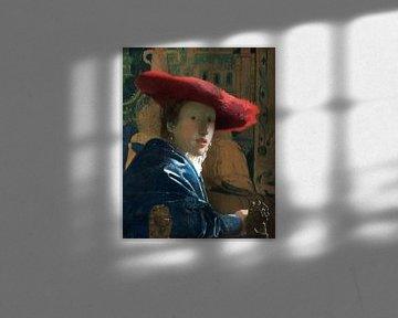Johannes Vermeer.  Mädchen mit einem roten Hut