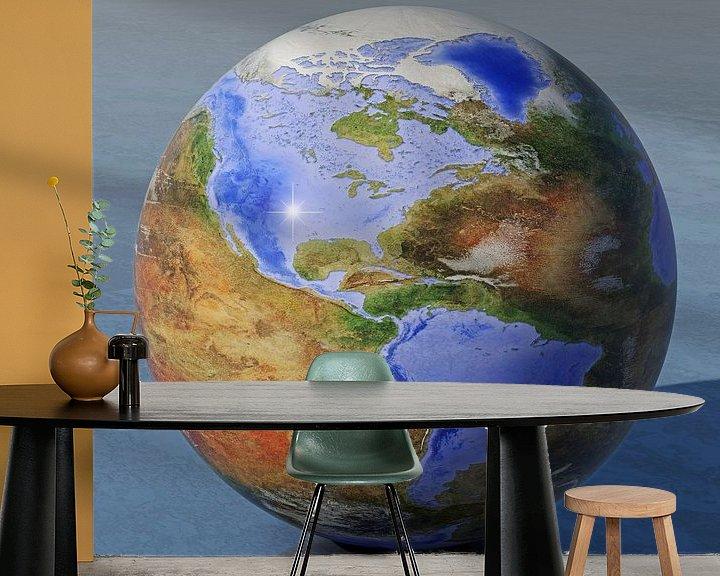 Sfeerimpressie behang: De omgekeerde wereld - Amerika van Frans Blok