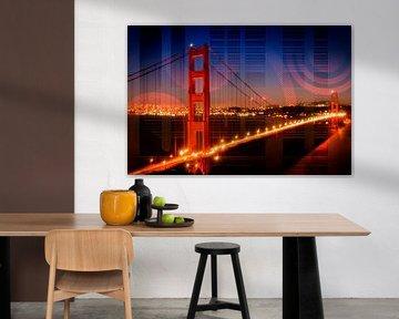 Golden Gate Bridge | Geometric Mix No.1 von Melanie Viola