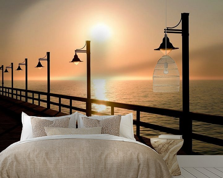 Sfeerimpressie behang: Zonsondergang Swakopmund, Namibië van Gijs de Kruijf