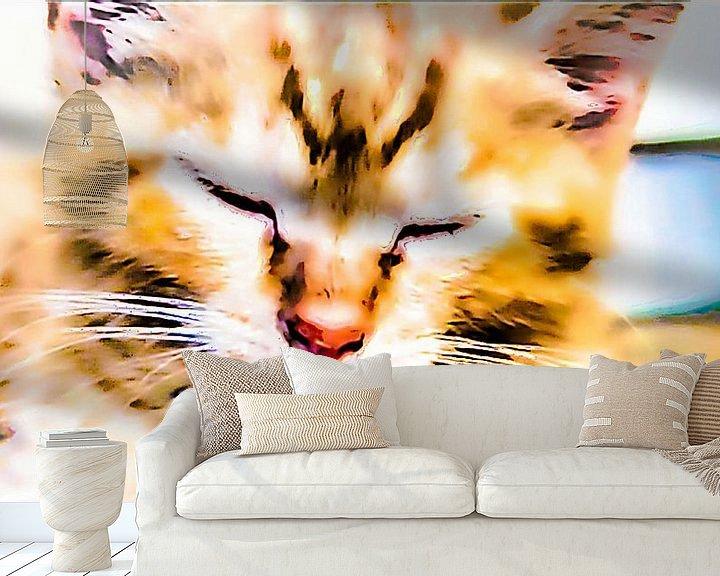 Beispiel fototapete: Schläfrige Katze von Margitta Frischat