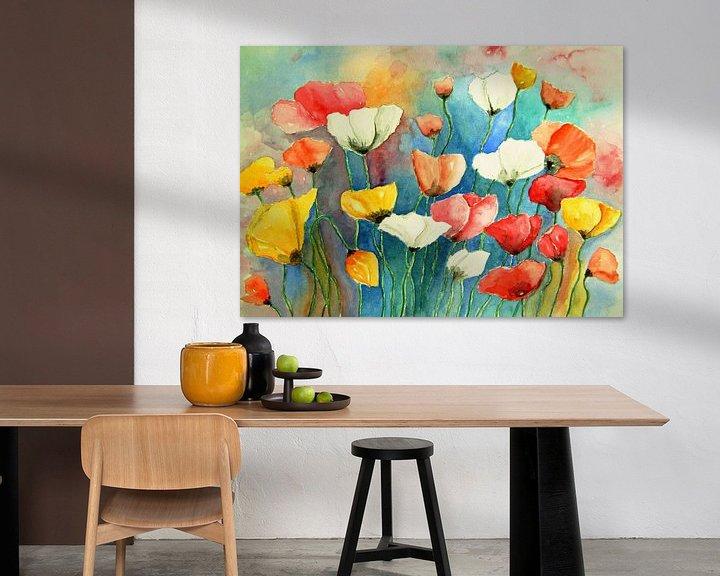 Beispiel: Bunter Mohn Aquarell Malerei Klaprozen Mohnblumen Blumen von Siegfried Dahlhaus