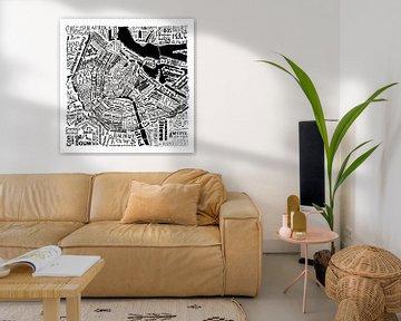 Amsterdam,  typografische plattegrond met A'dam toren van Muurbabbels Typographic Design