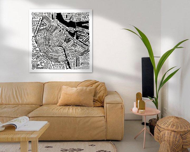 Sfeerimpressie: Amsterdam,  typografische plattegrond met A'dam toren van Muurbabbels Typographic Design