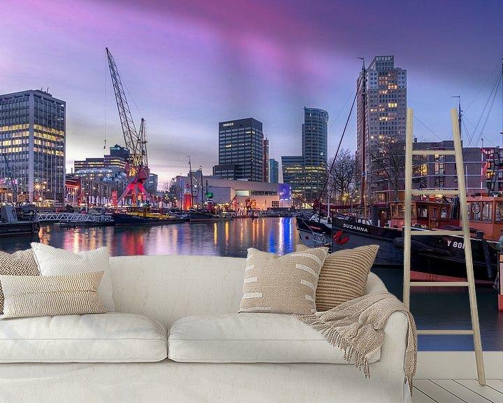 Sfeerimpressie behang: Leuvenhaven tijdens zonsondergang van Prachtig Rotterdam