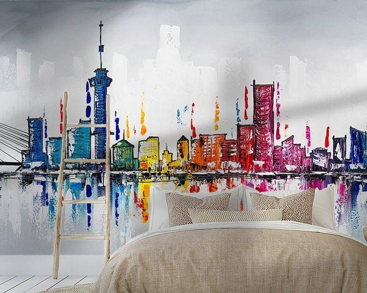 Sfeerimpressie behang: Skyline Rotterdam  van Artflow Schilderijen