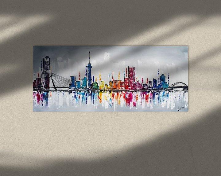 Sfeerimpressie: Skyline Rotterdam  van Artflow Schilderijen