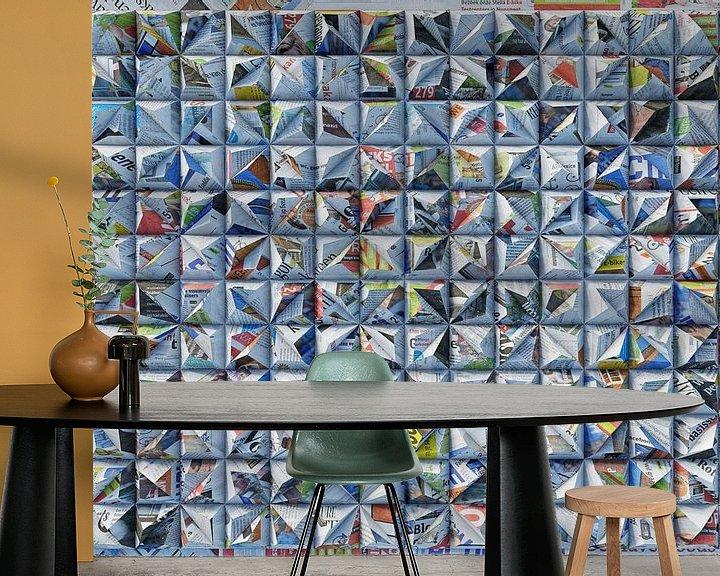 Sfeerimpressie behang: Reliëf L3 Kranten van Frans Blok