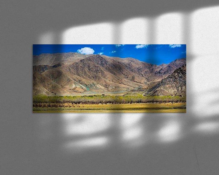 Sfeerimpressie: Panorama van het berglandschap in de omgeving van Gyantse, Tibet van Rietje Bulthuis