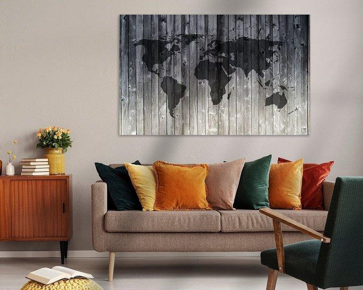Sfeerimpressie: Wereldkaart op Houten planken van Wereldkaarten.Shop