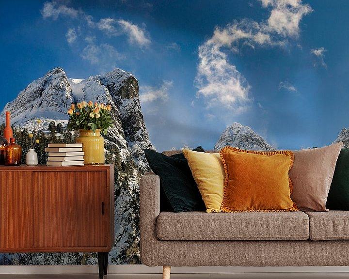 Sfeerimpressie behang: Schneiderspitze  in  Axamer Lizum Oostenrijk van Martijn van der Nat