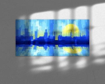 Stad zon silhouet van Jan Brons