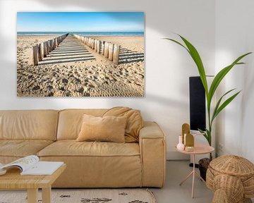 Doppelreihe von hölzernen Pfosten auf leerem niederländischem Strand von Ruud Morijn