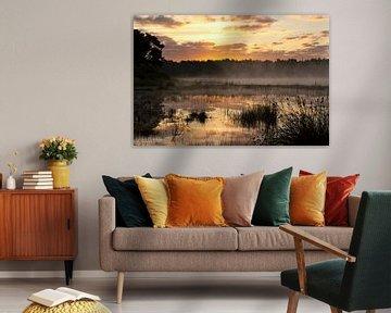 Landscape 'Morning mist' van Greetje van Son