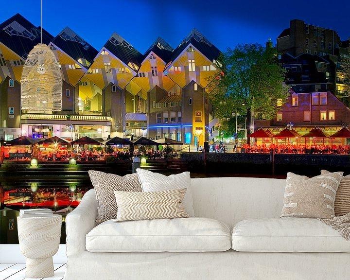 Sfeerimpressie behang: Kubus woningen aan de Oude Haven te Rotterdam van Anton de Zeeuw