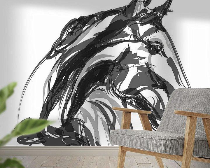 Sfeerimpressie behang: Paard Apple Black White van Go van Kampen