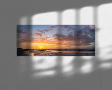 Zonsondergang in Wassenaarseslag (panorama) van Michael Echteld