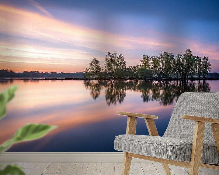 Sfeerimpressie behang: Kralingse plas met zonsopkomst I van Prachtig Rotterdam