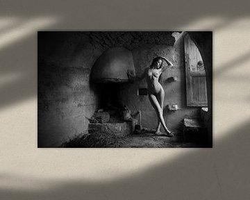Artistiek naakt model in daglicht bij een deur van Arjan Groot