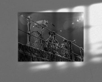 fiets en in de nacht van Wijbe Visser