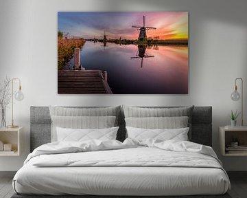 Zonsopgang Kinderdijk van Patrick Rodink