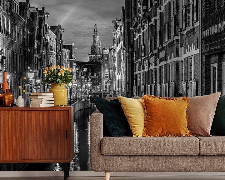 Sfeerimpressie behang: Amsterdamse gracht in de avond. van Mario Calma