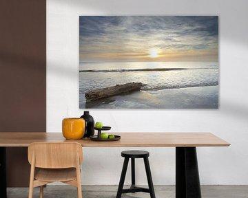 Wrakhout jutten tijdens zonsondergang op het strand van Julianadorp (2) van Gerben van Dijk