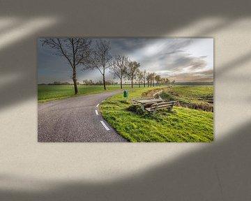 Landweg met houten picknetset in de berm van Ruud Morijn