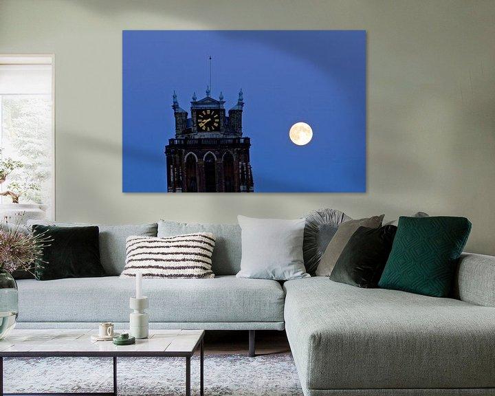 Sfeerimpressie: Grote Kerk en volle maan van Jeroen van Alten
