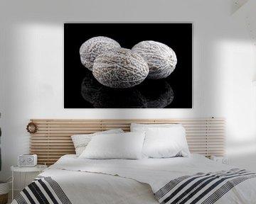 Nootmuskaat geïsoleerd op een zwarte achtergrond van Sjoerd van der Wal