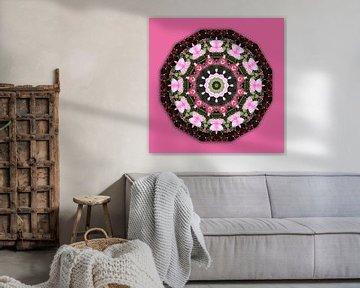 Roze bloemen, bloemen mandala, natuur van RaSch-BS_Design