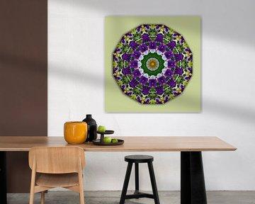 Viooltje Mandala (Stiefmuetterchen), Bloemen Mandala, Natuur van RaSch-BS_Design