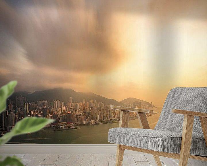 Sfeerimpressie behang: Hong Kong Sunset van Cho Tang